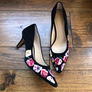 Ann Taylor Black Velvet Rose Embroidered heels